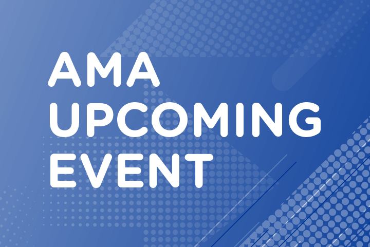 "Graphic design stating ""AMA Upcoming Event"""